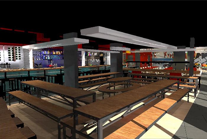 Vista 3D de las mesas del restaurante