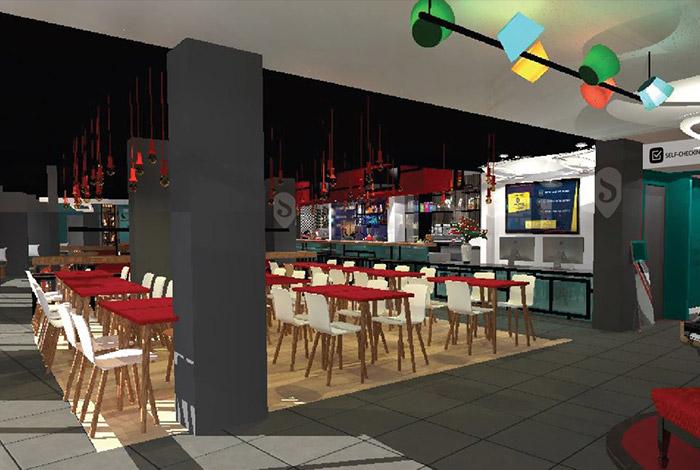 Las mesas y la sala de restaurante